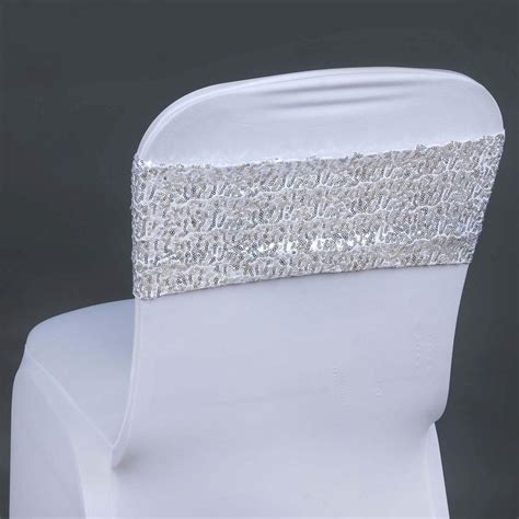 pc  spandex sequined chair sash silver tablecloths