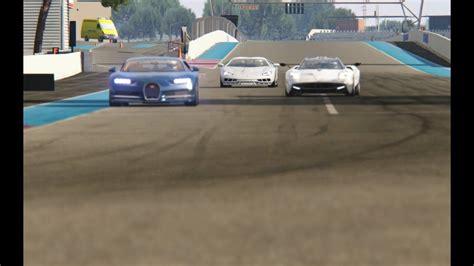 Video produced by assetto corsa racing simulator www.assettocorsa.net/en/ thanks for watching! Lamborghini Centenario vs Pagani Huayara vs Bugatti Chiron at Circuit Paul Rocard - YouTube