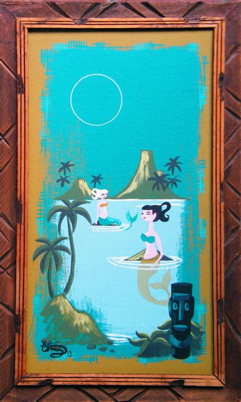 el gato gomez painting mid century modern tiki mermaid