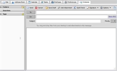 composing   email message  zimbra web client