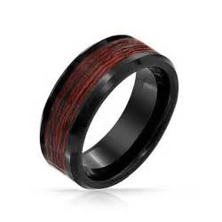 tungsten wood inlay wedding bands black tungsten wood inlay mens ring