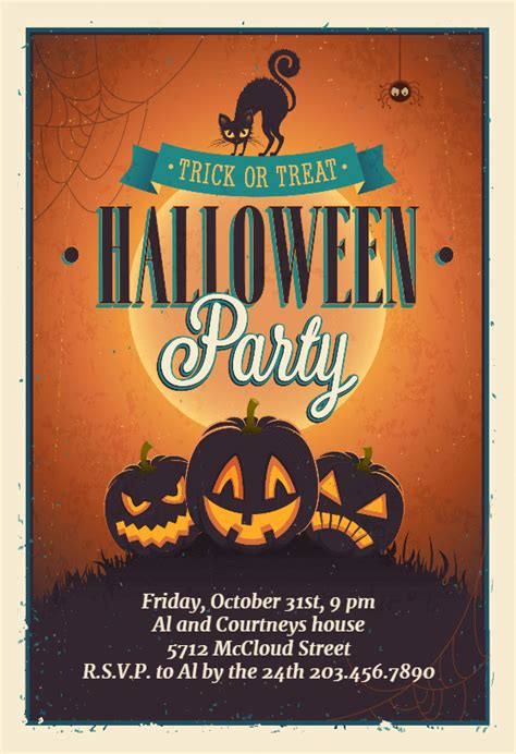vintage party halloween party invitation template