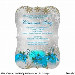 Blue Silver  U0026 Gold Holly Baubles Christmas Party