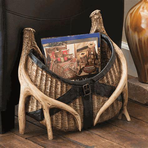 Fishing Creel with Antler Magazine Rack