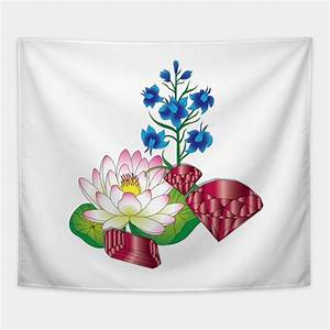 Flower Chart In English Water Lily And Larkspur Flowers And Gems Tapestry