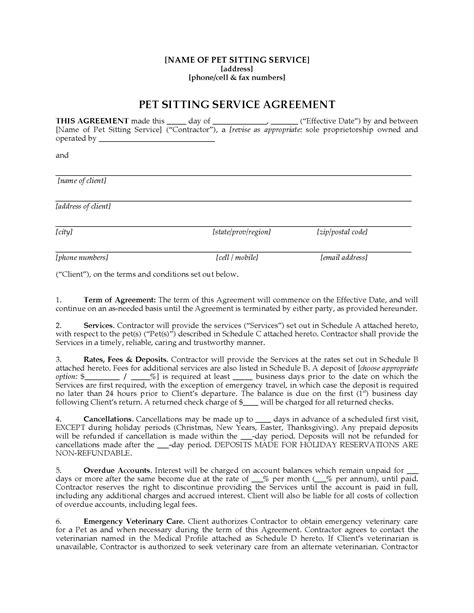 pet sitter contract forms package legal forms and