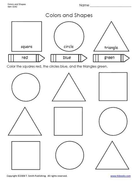 colors and shapes worksheet from tlsbooks com learning