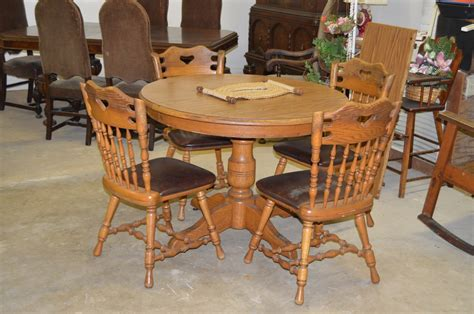 vintage oak table 4 chairs by dinaire furniture ny the