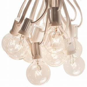50, Foot, White, String, Lights, -, G40, Clear, Globe, Bulbs, White, Wire