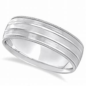milgrain edge satin finish wedding ring band platinum 6mm With milgrain edge wedding ring