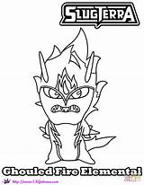 Slugterra Coloring Slugs Elemental Fire Pages Ghouled Printable Paper Drawing Crafts sketch template