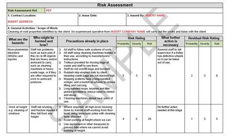 risk assessment method statement  cleaning seguro