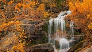 California, Cascade, Waterfalls, Rock, And, Trees, With, Yellow, Leaves, Hd, Nature, Wallpapers