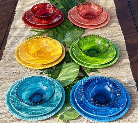 outdoor dinnerware beaded melamine plates pottery barn summer coral table indigo patio plate china sets tableware outside kitchen bath