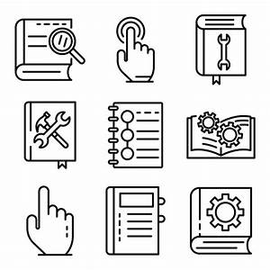User Guide Icons Set  Outline Style