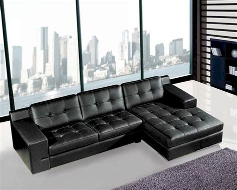 sectional sofa  black leather modern style