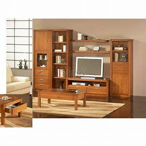 Composition living meuble television en merisier massif de for Awesome meuble pour entree moderne 10 composition living meuble television en merisier massif de