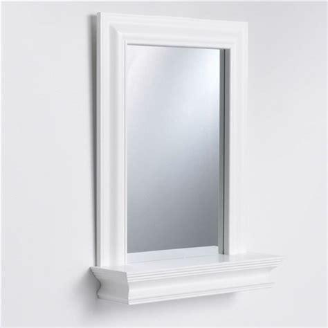 White Wood Bathroom Mirror by Framed Bathroom Mirror Rectangular Shape With Bottom Shelf
