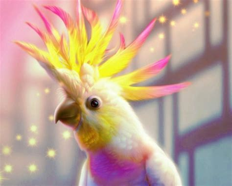 Fantasy White Yellow Pink Parrots Magic Mohawk Birds