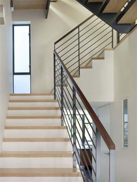 steel flat bar hand rail staircase modern wood glass shade exterior handrail