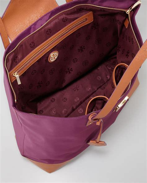 lyst tory burch penn nylon flaplock tote bag plum  purple