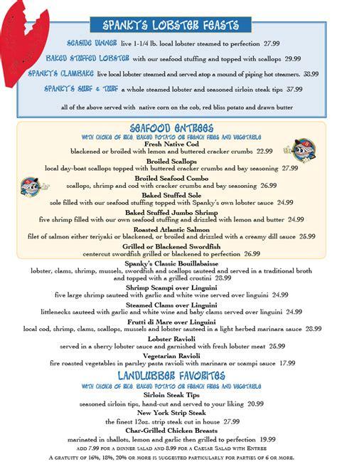 menu spankys clam shack