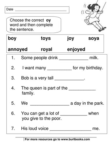 phonics worksheets oy and oi sounds phonics