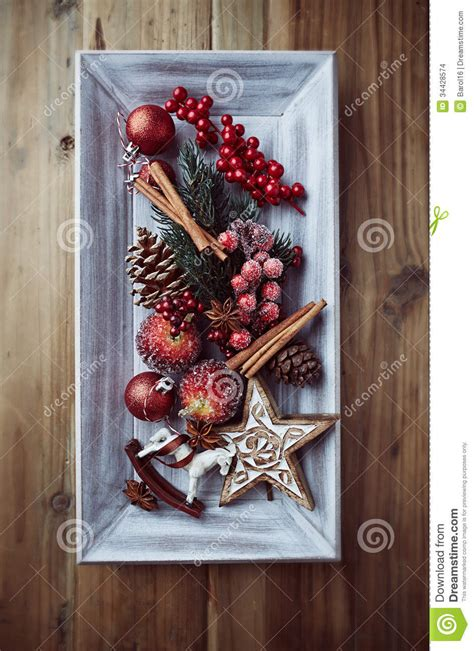 rustic christmas decorations   wooden tray stock photo