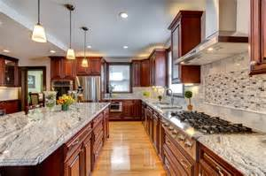 kitchen lighting ideas houzz viscont white granite countertops with cherry cabinets