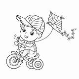 Coloring Riding Boy Kite Cartoon Outline Bicycle Bike Flying Children Kites Dog Paper Illustrations Friends Vectors Clip Activity Clipart Park sketch template