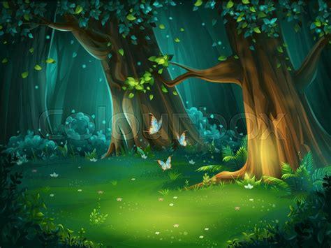 vector cartoon illustration  background forest glade
