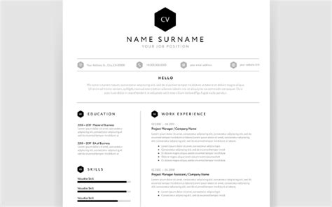 Single Page Resume Template Free by Modern Single Page Resume Template