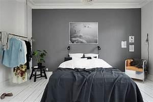 Bedroom with a grey wall coco lapine designcoco