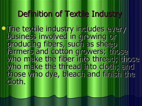 types  industry  textile industry