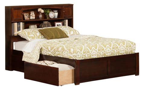 Newport Antique Walnut Bookcase Platform Bed By Atlantic