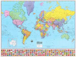 Hammond World Wall Map Mural Poster - 36x48 inches