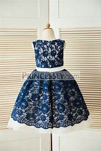 Navy Blue Lace Ivory Tulle Wedding Flower Girl Dress with ...