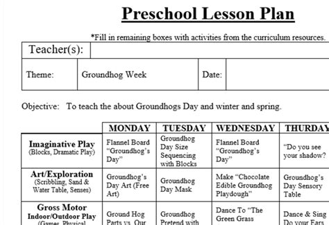 preschool lesson plan and detailed activities groundhog 304 | 750 2978840 1