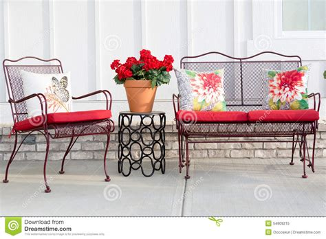 colorful wrought iron garden furniture stock photo image