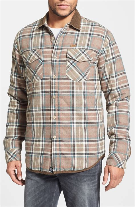 flannel shirt jacket with quilted lining lyst rvca frostline plaid flannel shirt jacket with