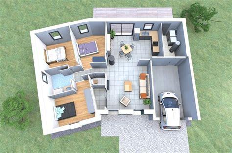 plan 3d d une maison en v de plain pied avec 3 chambres