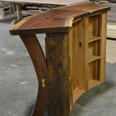 hand crafted  edge walnut  reclaimed curved bar reception desk  sandy creek woodworks