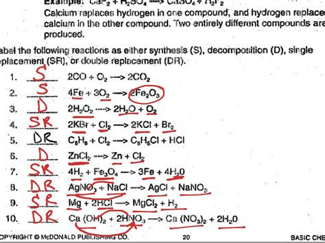 types of chemical reactions worksheet answer key the best