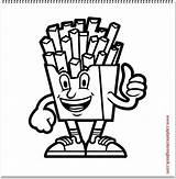 French Fries Coloring Character sketch template