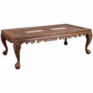 Antique anglo indian or british colonial teak wood for Indian carved coffee table