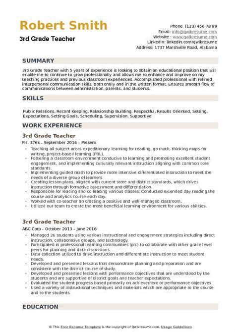 3rd grade teacher resume sles qwikresume