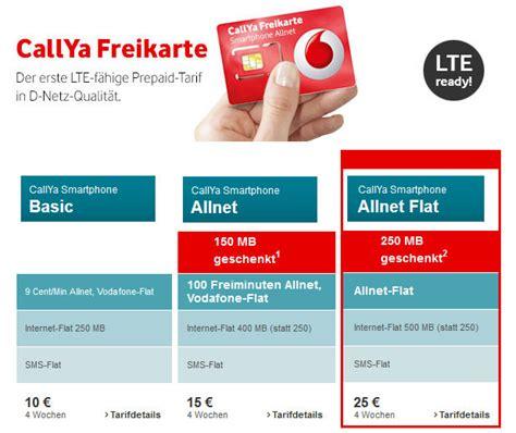 neue vodafone callya prepaid allnet flat im tarifcheck