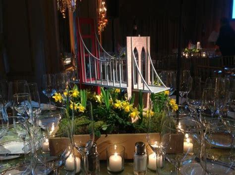 bridge centerpiece urban garden wedding inspiration