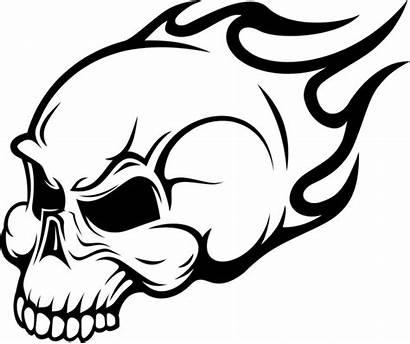 Skull Flaming Clip Sticker Wall Vector Coloring