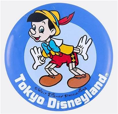 Disneyland Pinocchio Litho Tokyo Button Disney Official
